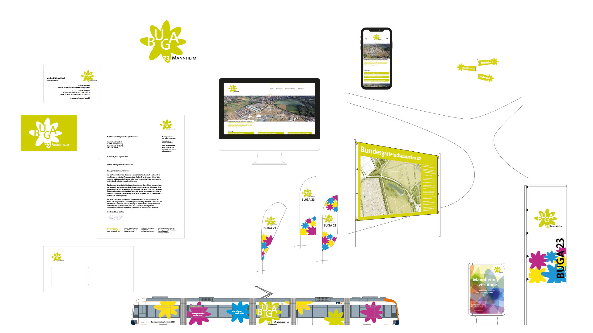Übersicht Designanwendungen Bundesgartenschau Mannheim 2023