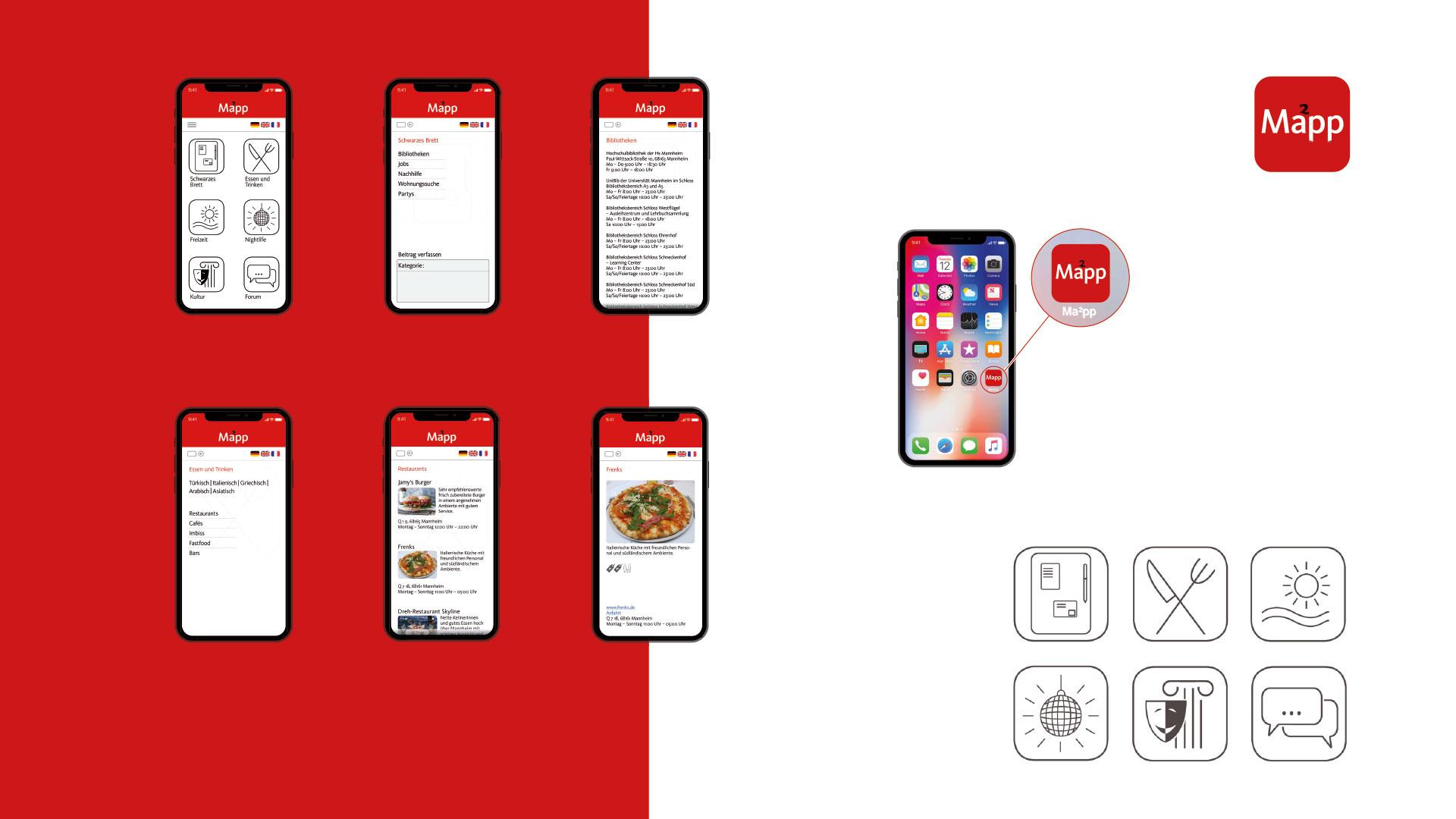 Übersicht Screens Mannheim App
